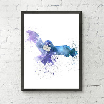 Hedwig Harry Potter art print, watercolor owl, owl art print, hedwig art, animal print, bird print, home wall decor