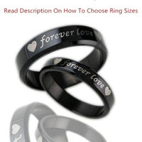 "1PCS Fashion Jewelry Simple Style Mens OR Womens 316L Stainless Steel Polish ""forever love"" Promise Rings Couples Wedding Bands,Unique Lover's Ring ,Black ,From Milkle Gift (With Thanksgiving&Christmas Gift Box)= 1929589956"