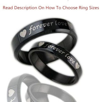 1pcs fashion jewelry simple style mens or womens 316l stainless steel polish forever love - Black Wedding Rings For Men