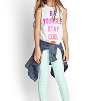FOREVER 21 GIRLS Be Yourself Muscle Tee (Kids) Cream/Pink