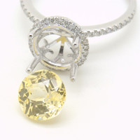 Reserved for U White 14K gold engagement diamonds halo ring with 2.65 carat untreated canary yellow sapphire JOAN-820P