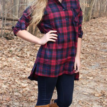 Casual Weekend Flannel - Red and Navy Plaid