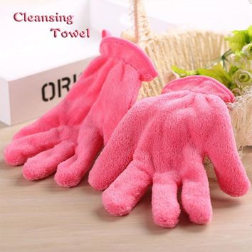 1pc Face Towel Makeup Remover Reusable Cleansing Glove Microfiber Soft Facial Cloth Clean Glove Antibacterial Beauty Tool L3