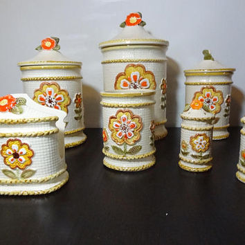 Vintage Retro Floral Ceramic Kitchen Canister Set - Set of 7 - S & P /Napkin Holder/Small Utensil Jar/3 Canisters - Retro Flower Power