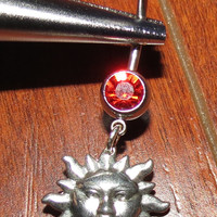 Red Belly Ring with Dangle Sterling Silver Sun
