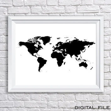 adventure map wall art wanderlust wall art wanderlust poster sign Black watercolor Travel Gift World Map Poster Large Map sign printable