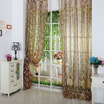 Top Selling For Chic Leaf Type Tulle Voile Door Window Curtain Drape Panel Sheer Scarf Valance