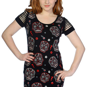 Banned Day of the Dead Flower Sugar Skull Allover Cut Out Shoulder Top