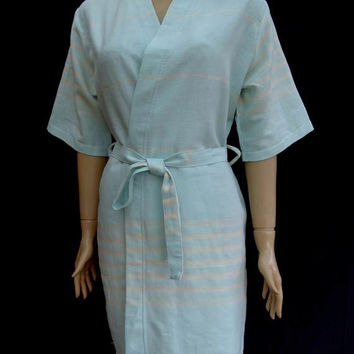 Women's baby blue colour short sleeved cotton kimono bathrobe, short dressing gown, bridal shower robe, beach robe, swimming robe.