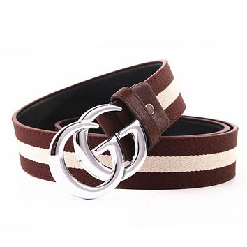 GUCCI Fashion Woman Men Fashion Smooth Buckle Belt Leather Belt Coffee Beige G