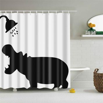 Hippo in the Shower Shower Curtain
