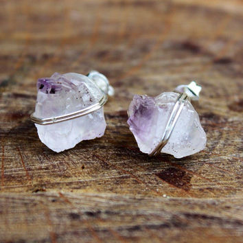 Silver Wire Wrap Amethyst Crystal Stud Earrings, boho, hippie chic