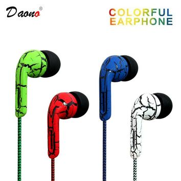 Stereo 3.5mm Earphone Headphones Headset with mic Woven Fiber Cloth Line Headset Device Earphones For Phone MP3 Wholesale