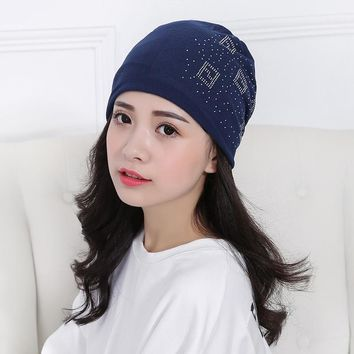 NEW Fashion Winter  Women Polyester Slouchy Diamond Beanie Hats Punk Long Skullies For GIRL autumn Thin cotton Beanies Hat