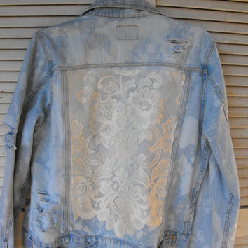 OOAK Hipster  distressed jean jacket