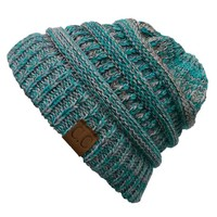 CC Beanie Cable Knit Beanie in Teal YJ816-3