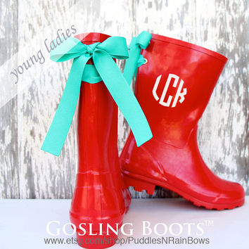 Custom Girls Red Gloss Rain Boot with Bow