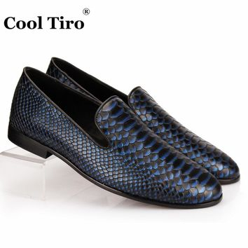 Blue Python Loafers Genuine Leather Men Loafers Slippers Slip-on Shoes