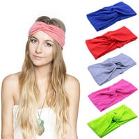 10 Colors Women's Cotton Turban Twist Knot Head Wrap Girls Cross Headband Twisted Knotted Hairband