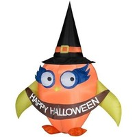 SheilaShrubs.com: Airblown Inflatable Falloween Owl with Banner 64124 by Gemmy: Halloween