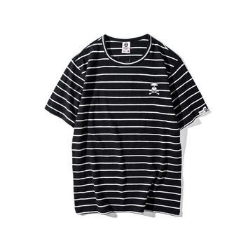 hcxx AAPE 'Skull Ape Logo' Striped T-Shirt
