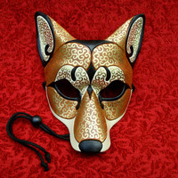 Brown Gold Venetian Coyote Mask... handmade leather by Merimask