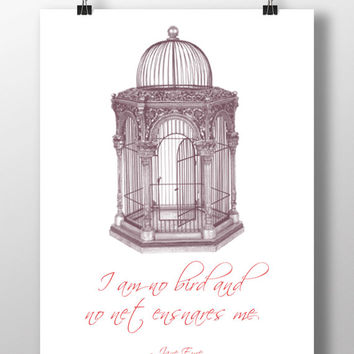 I am no bird Jane Eyre Quote Printable Wall Art Inspirational Typographic Print Charlotte Bronte Literary Quote Poster Instant Download Gift