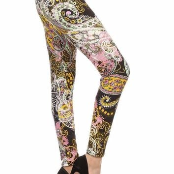 Women's Pink Paisley Leggings Pink/Ivory/Yellow/Black: OS/PLUS