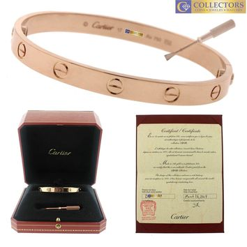 MINT Ladies 2017 Cartier LOVE Screw Size 17 18K Rose Pink Gold Bangle Bracelet