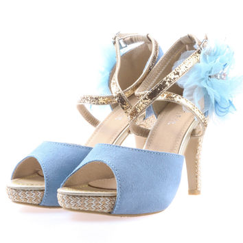 Shalex Heels with 3D Floral Embellishment