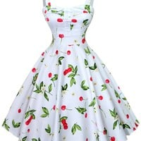 Atomic 1950's White Cherry Pin Up Swing Dress