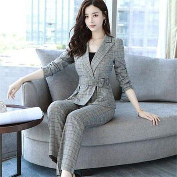 DCCKON3 fashionbusiness pant suits set blazers formal Women ol elegant plaid 2 piece sets uniform jackets set 1