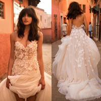 elegant boho Wedding Dresses 2017 sweetheart appliques lace tulle romantic wedding guest gown women marry gown