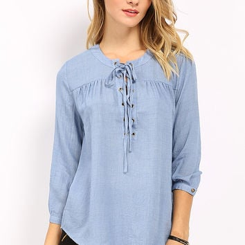 Lace-Up Denim Blouse
