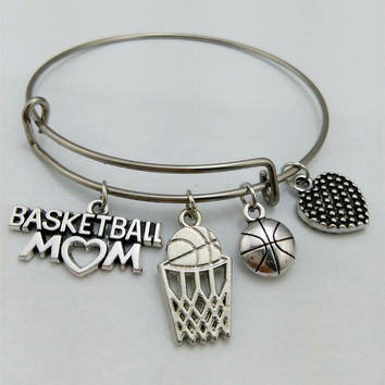 Basketball Bracelet, I love basketball, basketball mom, bangle bracelet, charm bracelet, basketball, basketball Bangle, basketball love