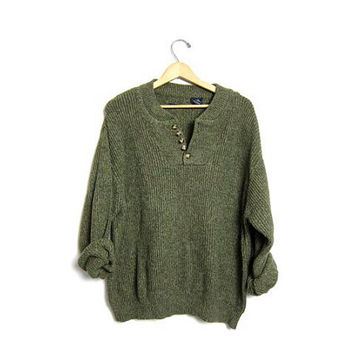 Slouchy Knit Henley Sweater Button Up Army Olive Green Boyfriend Pullover Oversized Slouchy 90s Knit Sweater Men's size XL