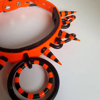 Spoopy III- Vegan Leather Spiked ddlg pet play neon Halloween o ring collar