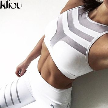 Kliou 2017 Women Crop Top Cropped Padded Bra Tank Top Vest Fitness Stretch Women's mesh Tanks Workout Bras