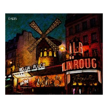 Retro Paris Famous Cabaret With Glowing Lights Poster