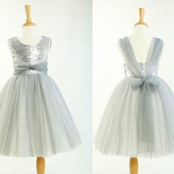 Tulle flower girl dress, grey toddler girl dress, backless flower girl dress, rustic baby girl dress, sequins flower girl dress for wedding