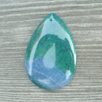 Green and blue Dragon Vein Teardrop Agate Pendant Bead, shiny polish, drilled top center, pretty color mix, jewelry supply, pendant stones