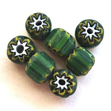 Ten large green chevron glass beads with a yellow, black and white pattern on the ends 10 x 9mm big hole beads C1701