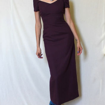 Vintage Sheath Dress 90s Fitted Purple Gown XS Sweetheart Neckline Prom Full Length