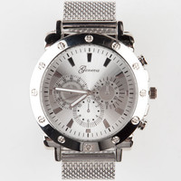 Geneva Mesh Band Watch Silver One Size For Men 24138714001