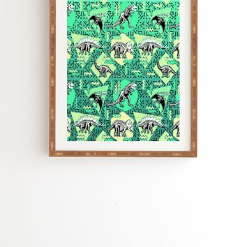 Chobopop Nineties Dinosaur Skeleton Pattern Framed Wall Art