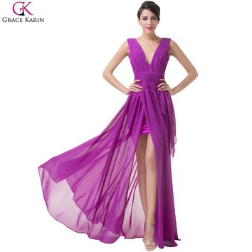Sexy Slit Evening Dresses 2017 Purple Chiffon Formal Grace Karin Dress V-Neck Long Prom  Dress Party Elegant Party Gown 6186