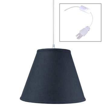 0-005065>Textured Slate Blue 1 Light Swag Plug-In Pendant Hanging Lamp