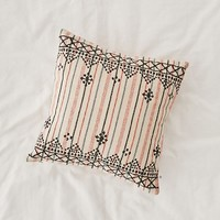 Mina Embroidered Lurex Stripe Pillow | Urban Outfitters