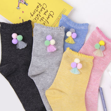 2016 NMW-016 new Spring fall/winter women's socks colored wool decoration female cotton socks for women free ship