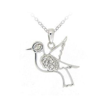 925 Silver Diamond Accent Dove Necklace